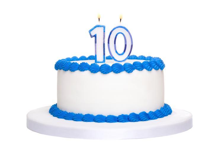 10-jähriges Torte